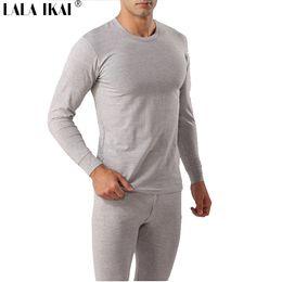 Wholesale Men Thermal Underwear Cotton Solid Warm Quality Sleep Set Top And Pant Men s Long Johns Set AK025