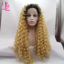 Fashion Free shipping two tone black to golden yellow loose wig ombre glueless wig synthetic lace front wig heat resistant for woman