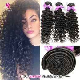 100% Indian Remy Hair Products Black Deep Curly 3Pcs Black Hair Bundles Double Weft 3pcs Deep Wave Black Grade 7A