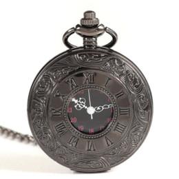 Mujer del reloj del collar en venta-2015 Alta valoración romano antiguo retro de la vendimia del reloj de bolsillo de Steampunk Negro Hombres Mujeres regalo vestido colgante del reloj de cuarzo collar