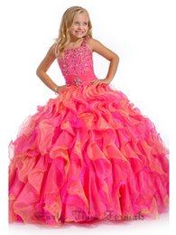 Wholesale Christmas Dresses Baby Girls Model - 2016 Girls Pageant Dresses Ball Gown Tank Hot Pink Beaded Organza Ruffles Baby Little Long Flower Girls Dresses For Wedding