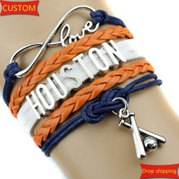 Wholesale Infinity Love HOUSTON baseball Sports Team Bracelet purple orange white Customize Sport friendship Bracelets drop shipping