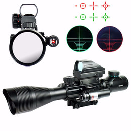 Tactical 4-12X50 EG Rifle Scope & Holographic 4 Reticle Sight & Red Laser Combo Airsoft Gun Sight for Hunting