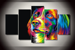 5 Piece HD Printed Colorful dog Painting Canvas Print room decor print poster picture canvas Free shipping