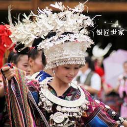 Wholesale New Miao golden pheasant Dance Headdress Miao Silver Collar Necklace Miao nationality clothing Three phoenix three birds Tire Hat set