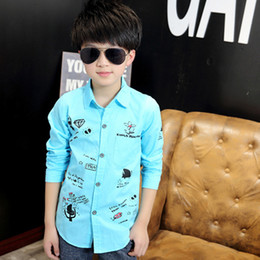 2016 Brand Boy Print Blouse For Autumn Spring Boy Cotton Turn-down Collar Long-Sleeve Boy School Fashion Cartoon Blouses Hot