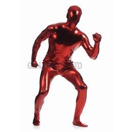 Wholesale Adult Mens Faux Leather Metallic Deep Red Bright Full Skin Zentai Cosplay Costume Halloween Suit Bodysuit Unitard leotard