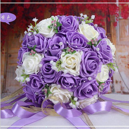 Wholesale 2016 Beautiful Handmade Flowers Decorative Artificial Rose Flowers Pearls Bride Bridal Lace Accents Wedding Bouquets Colors