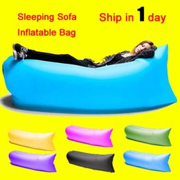 Wholesale Fast Inflatable Sofa Sleeping Bag Outdoor Air Sleep Sofa Couch Portable Furniture Sleeping Hangout Lounger Inflate Air Bed DHL Free OTH238
