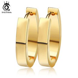 High Polished Concise Hoop Earring with 18K Gold  Silver Color Stainless Steel Fashion Woman Earring GTE17