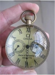 Wholesale Chinese antique brass clock round spherical glass mechanical pocket watch