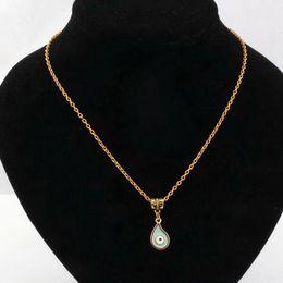 Hot ! 30PCS Teardrop Light blue Enamel Evil Eye Charm Pendant Necklace DIY Jewelry