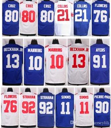 Wholesale Giants Eli Manning Phil Simms Odell Beckham Jr Ahmad Bradshaw Victor Cruz Pierre paul size small S XL top quality