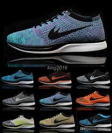 Wholesale 2016 Flyknit Racer Running Shoes For Men Women Sport Outdoor Athletic Shoes Breathable Black Blue Red Airmax Tennis Shoes Size