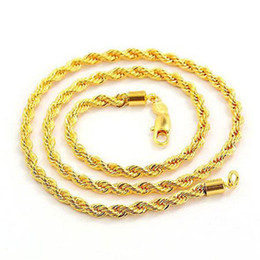 "Men's 14K Yellow Gold plated Filled GF Jewelry Rope Necklace Knot 23.6""Twist Link Chain"