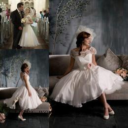 Free Shipping Tea length Low back Short Vintage Wedding Dress New Lace Chiffon Bridal Gown Women Dress