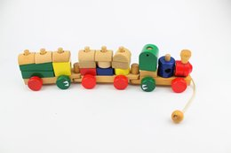Wholesale Wooden Big Stacking Train Set Toddler Toy Three Section Wooden Car Sets Block Games Pull Along Shapes Puzzles Educational Toys