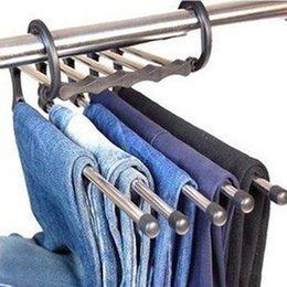 Wholesale Ultra practical Multi functional Stainless Steel Tube Magic Pants Rack Trouser Hanger Home Storage