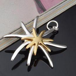 Gold 925 Silver Plated Golden Starfish starfish Pendant Starfish Necklace Silver Sea Star Pendant NO CHAIN DHL
