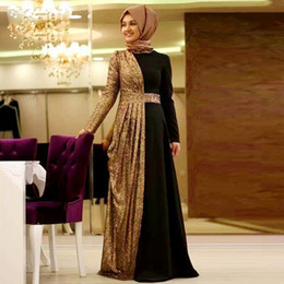 Modest Arabic Muslim Women Formal Dresses Evening Wear With Long Sleeves Gold Sequins Draped Plus Size Women Prom Dress Cheap