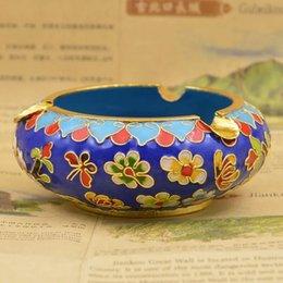Wholesale 5 inch Cloisonne Ashtray copper tires filigree cloisonne enamel Beijing Cloisonne Decoration collection souvenirs