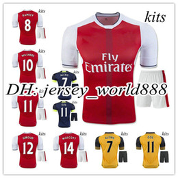 Wholesale Best quality Arsenal home soccer jersey Kits RD ALEXIS WILSHERE GIROUD CHAMBERS OZIL away football men shirts