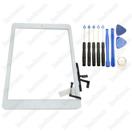 100PCS Touch Screen Glass Panel Digitizer with Buttons Adhesive Assembly for iPad air iPad 5 Black and White With Repair Tools