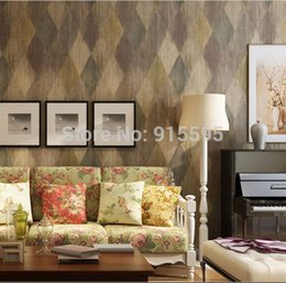 Wholesale American PVC Wallpaper Vintage Leather Diamond Brick D Embossed Texture Vinyl Wall paper Livingroom Bedroom TV Sofa background