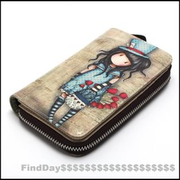 Medium Long Cute Girl Print Carton Pretty Women Inside Top-Layer Cowhide Wallet Card Holder Zipper Design Coin Purse