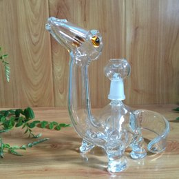USA clean color dinosuar glass smoking pipes oil rigs glass bongs with 14mm joint four holes diffusion new design