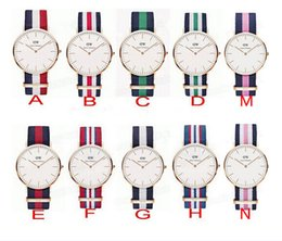 Wholesale 2016 New Womens Mens double needle color nylon DW watch rose gold DW thin nylon quartz Wristwatches