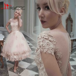 2016 Pink Short Lace Wedding Dresses illusion Neck Short Sleeve Ball Gown Applique Cheap Bride Dress Wedding Gowns Custom Made