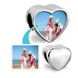 Customized blank heart photo bead alloy Metal Slider European Charms without photo Fit Pandora Chamilia Biagi Bracelet