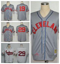 Cleveland Indians Jersey Throwback 19 Bob Feller 29 Satchel Paige Baseball Jerseys Sports Game Team Color Gray Beige White