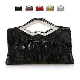 Wholesale Women Iron Handle Aluminum Sequins Clutch Bag Evening Bag Lady Fashionable Banquet Bag Party Bags Beautiful HuiLin KY109