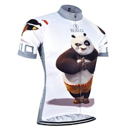 Wholesale BXIO Brand Funny Cycling Jersey Panda Hero Cartoon Printed Look Bike Wear Short Sleeve Summer Cool Sport Clothing Number For BX XM081 J