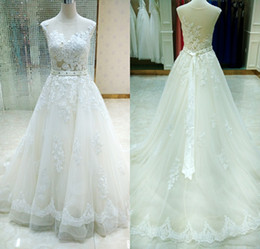 Wholesale Real Images Milla Nova Sheer Castle Wedding Dresses Ball Illusion Back Appliques Lace Chapel Train Bridal Gown For Western Style