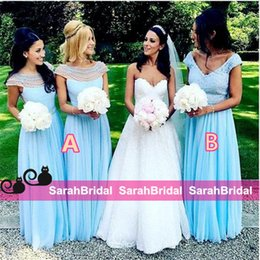 Wholesale 2016 Alternative Long Beaded Bridesmaid Dresses for Different Style Maid of Honors Formal Wear Sale Cheap Sky Blue Wedding Guest Gowns Cheap
