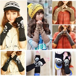 Wholesale New Fashion Women Skull Knitted Wrist Arm Long Fingerless Mitten Winter Gloves Soft Warm New