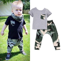 Wholesale 2016 hot sale Baby Boys suits summer style Kids tshirt Long active Pants Camouflage boy girl Outfits Clothes BDU battle fatigues Sets