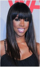 T1B 2# Peruvian Full Lace Wig Silky Straight Unprocessed Human Hair Wigs Glueless Lace Front Wig With Bangs For Black Women