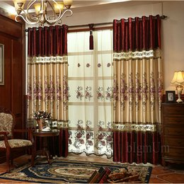Wholesale Embroidered pastoral curtain Blackout Curtains For Living Room Bedding Room Drapes Custom made