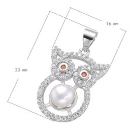 Cubic Zircon Micro Inlay Brass Pendant Owl With Pearl Platinum Plated Nickel Lead & Cadmium Free 23x16mm Hole: 3.7mm 10PCS Lot Free Shipping