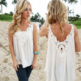 Wholesale Women V Back Floral Cutwork Vest Top Sleeveless Blouse Casual Tank Tops T Shirt