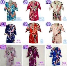 Wholesale 10 Colors Sizes Kids Girls Robe Satin Small Children Kimono Robes Bridesmaid Gift Flower Girls Dresses Silk Bathrobe Nightgown Kimono