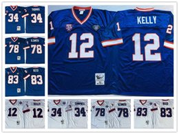 Wholesale Throwback Jim Kelly Thurman Thomas Bruce Smith Andre Reed Vintage White Blue Stitched Football Jerseys