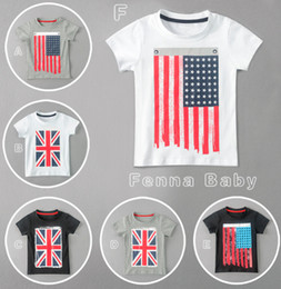 Wholesale Kids Summer Clothes Infant Boys Girls Short Sleeve T shirt Baby USA UK Flag Printed Top Tee Children Fashion Outfits