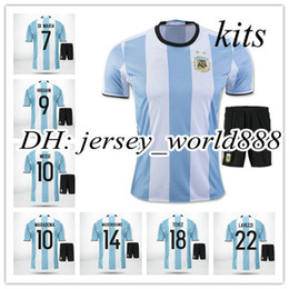 Wholesale best quality Argentina home soccer jersey kits MESSI AGUERO DI MARIA HIGUAIN Argentina away football uniform embroidery men shirt