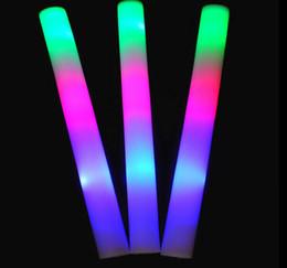 Acheter en ligne Conduit mousse bâton clignotant-Vente en gros 100 pcs beaucoup conduit mousse bâton clignotant mousse stickLED barColorful éponge lumineux lumière bâton acclamations lueur mousse bâton EMS / DHL / FEDEX