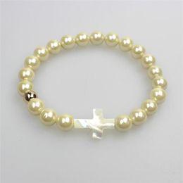 Wholesale Summer Bracelet Natural Shell Bracelet Multicolor Pearl Cross with Fashion dozen K Gold Bead Handmade Bracelet Fashion jewelry made dozen